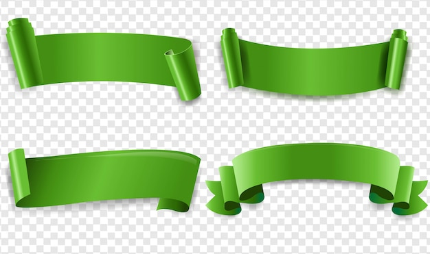 Green ribbon with transparent background
