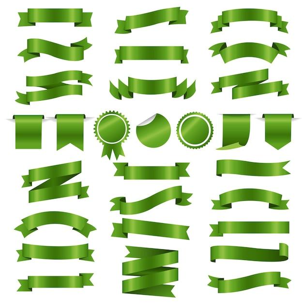 녹색 리본 및 라벨 세트