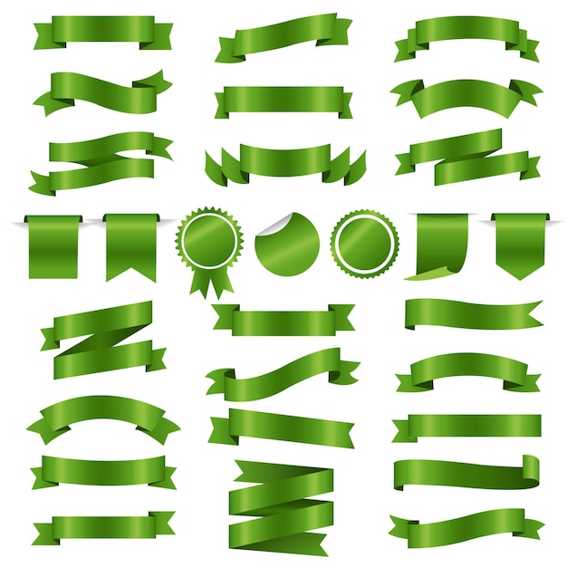 Green ribbons and labels set