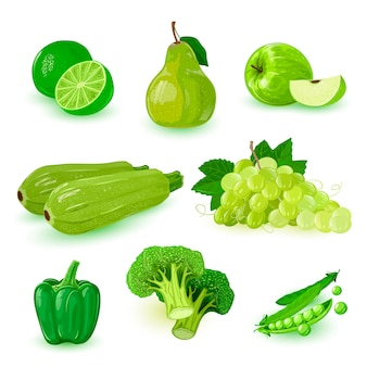 Green ripe fruits icons