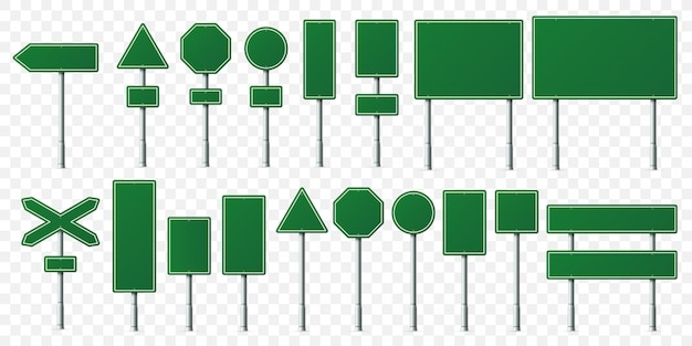 Green road sign board, direction signs boards on metal stand, empty pointer post and directing signboard isolated  set