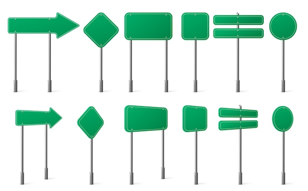 Green road signs different shapes on metal post front and angle view