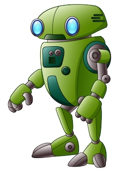 Green robot cartoon character isolated on white background