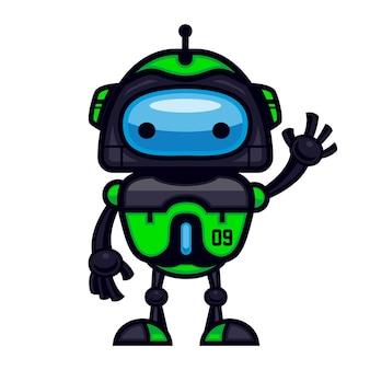 녹색 로봇 마스코트 디자인