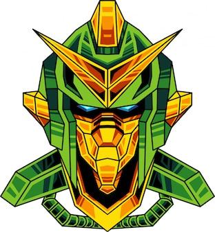 緑のロボットマスコットロゴ