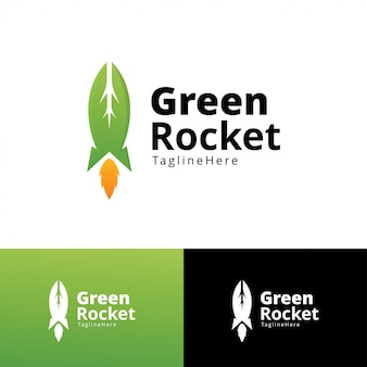 Green rocket logo design template