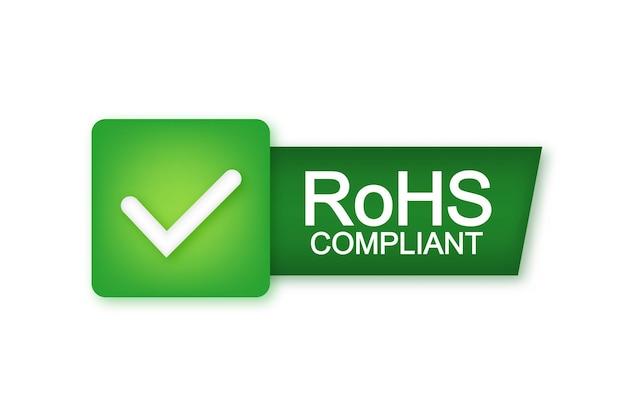Зеленый rohs. логотип, значок, этикетка. знак качества бизнес значок векторные иллюстрации и запасов.