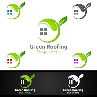 Green roofing logo for property roof real estate or handyman architecture design