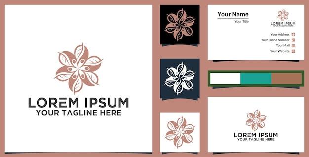 녹색 장미 꽃 로고 벡터 디자인 추상 상징 디자인 개념 및 명함 프리미엄