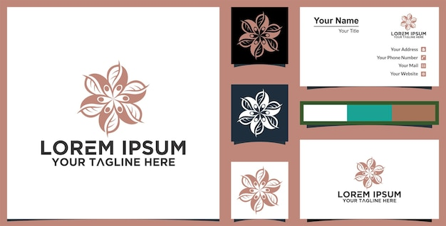 Green rose floral logo vector design abstract emblem designs concept and business card premium