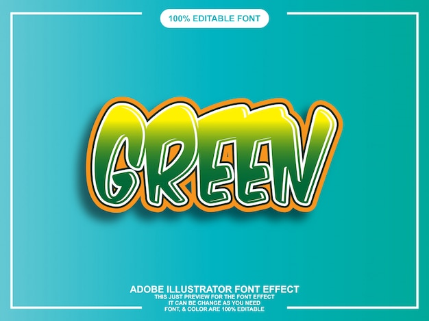 Green rounded bold graphic style easy editable font