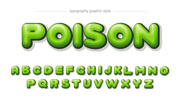 Green rounded cartoon text style