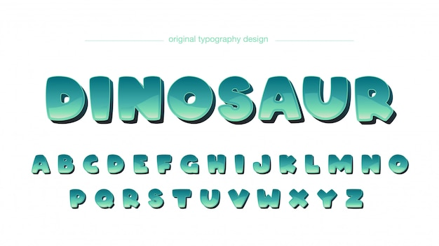 Green rounded cartoon typography