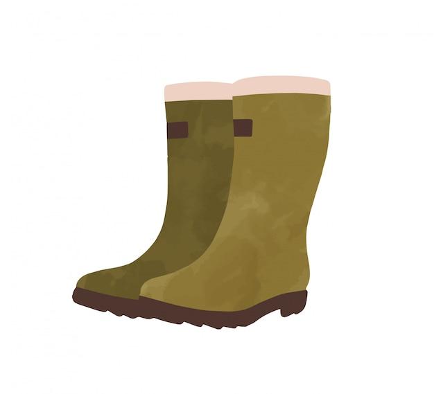 녹색 고무 부츠 수채화 그래픽 일러스트. 가 날씨 신발 손으로 그린에 고립 된 흰색 배경. 색상의 계절의 하이 부츠 장화