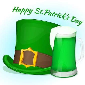 Green saint patricks day hat with glass of green beer
