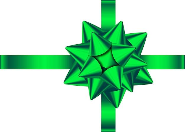 녹색 새틴 선물 리본과 활 외딴 크리스마스 새해 생일 장식