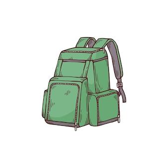 緑の学校や観光のバックパックやリュックサックの漫画のアイコン、白い表面に分離された手描きのベクトル図