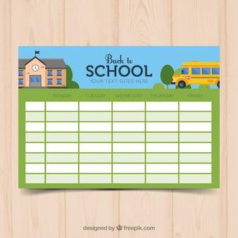 Шаблон расписания в зеленой школе