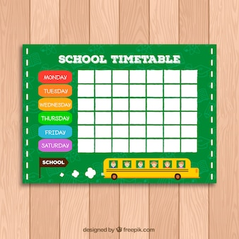 Green school timetable template