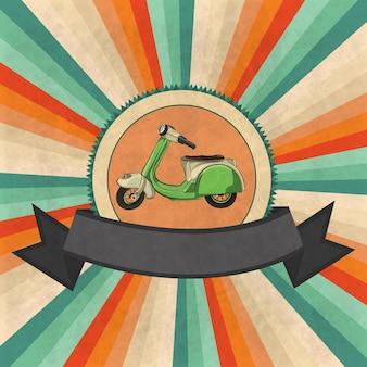 Зеленый скутер стоял мультяшный мотоцикл на старинном фоне векторные иллюстрации