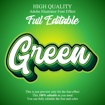 Green script editable typography font effect