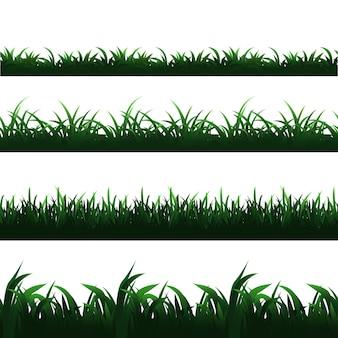 Green seamless grass borders  set