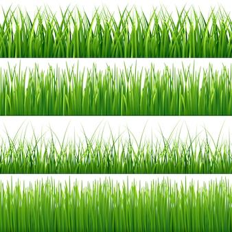 Green seamless grass set