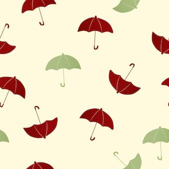 緑のシームレスなパターンの背景、傘イラストベクトル