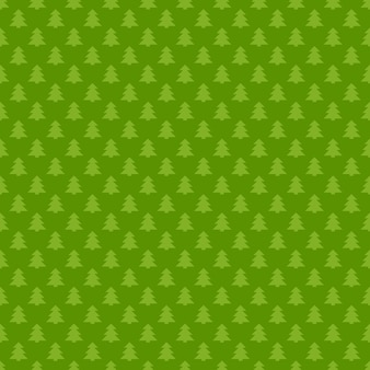 Green seamless retro stylized pine tree forest pattern background - vector christmas decoration graphic design
