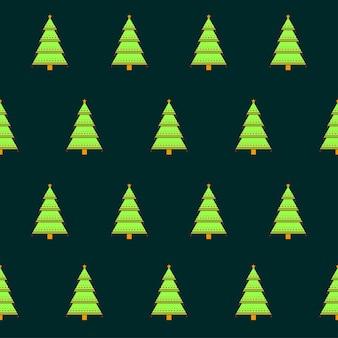 緑のシームレスなクリスマスツリーパターンの背景。