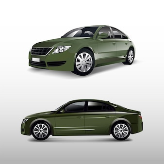 Green sedan car isolated on white vector