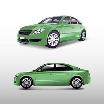 Зеленый седан, изолированный на белом векторе