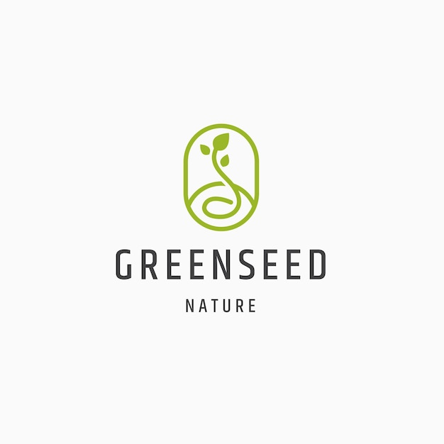 緑の種子自然ロゴアイコンデザインフラットテンプレートベクトルイラスト