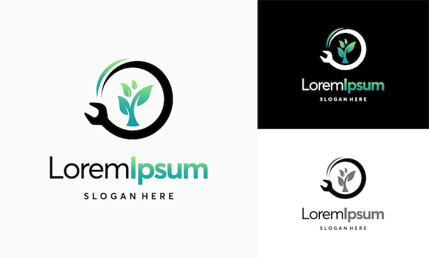 그린 서비스 로고 디자인 템플릿, 렌치 트리 잎 서비스 로고 벡터 아이콘 그림, 정비사 잎 로고 템플릿 벡터