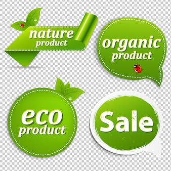 Green set eco tags with gradient mesh,  illustration