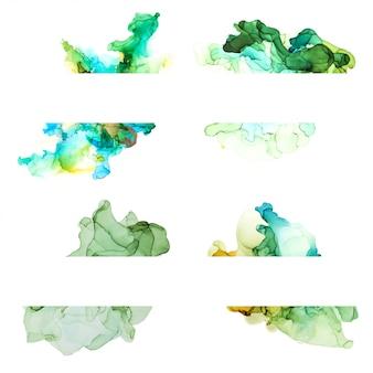 緑の色合いの水彩画バナーコレクション