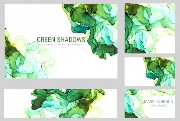 緑の色合いの水彩画カードコレクション、ぬれた液体、手描きの背景水彩画テクスチャ