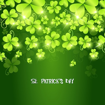 Green shamrocks falling st  patrick's day background