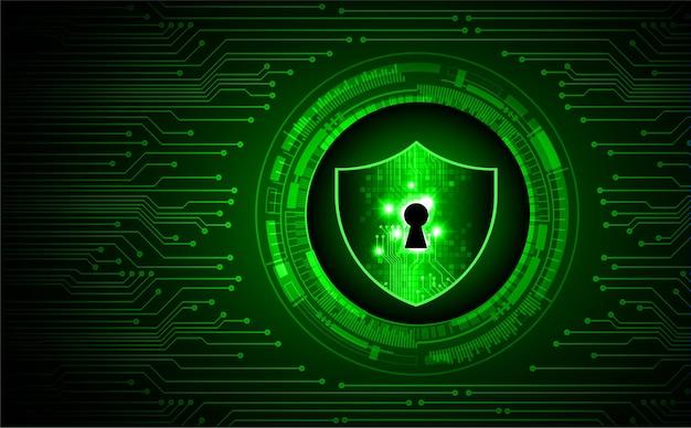 デジタル背景のサイバー セキュリティに鍵穴が付いた緑の盾