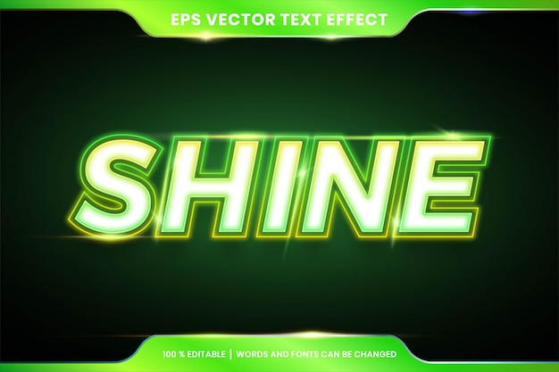 Green shine text effect style editable