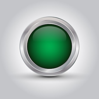 Green shiny web button or background with shadow