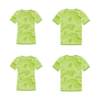 Green short sleeve t-shirts templates with the camouflage pattern