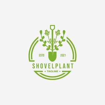 緑のシャベル環境ヴィンテージロゴ、常緑キャットニップガーデンコンセプトのベクトルイラストデザイン
