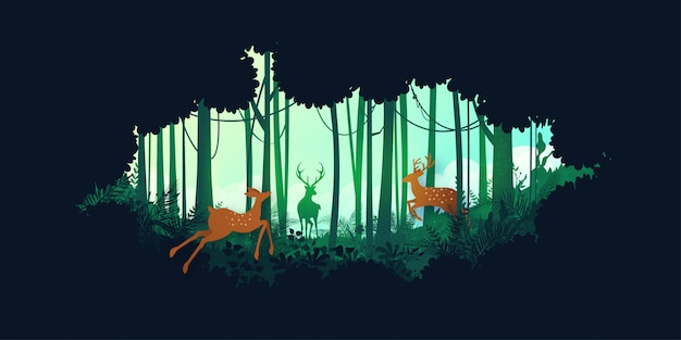 녹색 실루엣 정글 열대 우림과 사슴 야생 동물