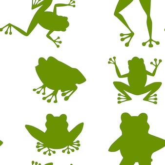 배경에 지상 만화 동물 디자인 평면 벡터 일러스트 레이 션에 앉아 귀여운 웃는 녹색 개구리의 녹색 실루엣 완벽 한 패턴입니다.