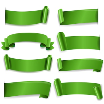 Green silk ribbon isolated white background