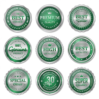 Green and silver metal badges and labels collection