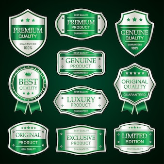 Green and silver premium vintage badge and labels collection