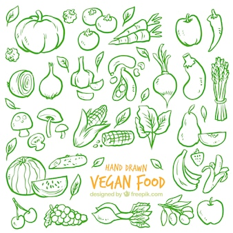 Green sketches vegetables background