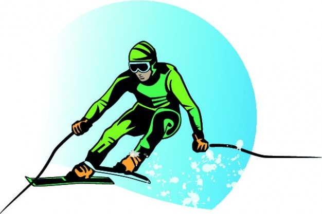 Green skier cartoon vector background